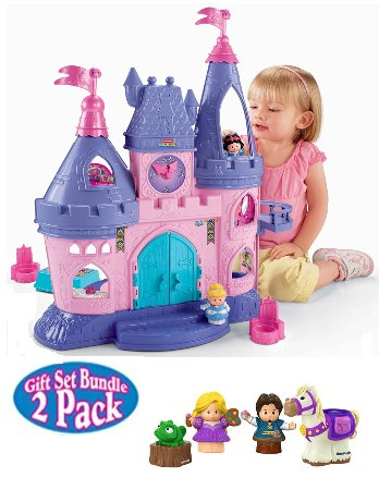 Fisher Price Disney Princess Songs Palace with Cinderella, Snow White and BONUS Rapunzel, Flynn and Friends Bundled Gift Set