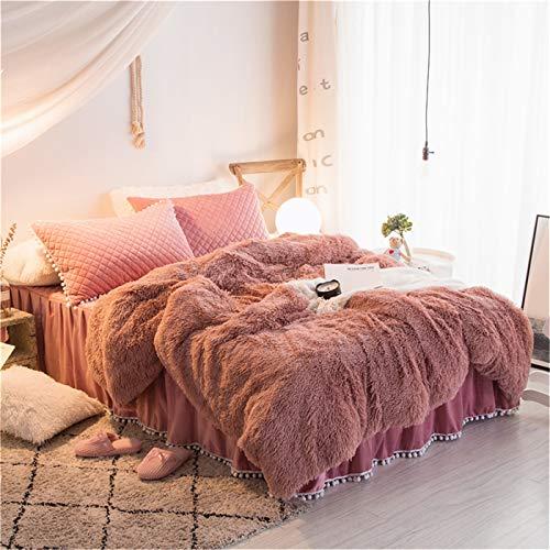 (MooWoo 4PCS Shaggy Bedding Sets, 1 Velvet Flannel Duvet Cover + 1 Quilted Ruffle Bed Sheet Skirt + 2 Pompoms Fringe Pillow Sham, Zipper Closure Velvet Bedding Sets (Dusty Rose, Queen))