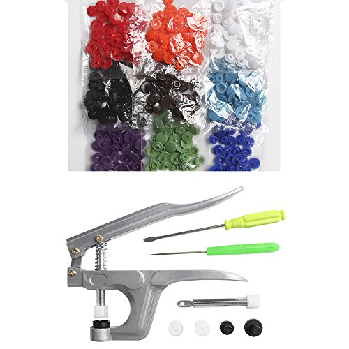 Craft Tool Die Punch Snap Kit Rivet Setter with Base for Punch Hole and Install Rivet Button (Plastic - Plastic Buttons Metal
