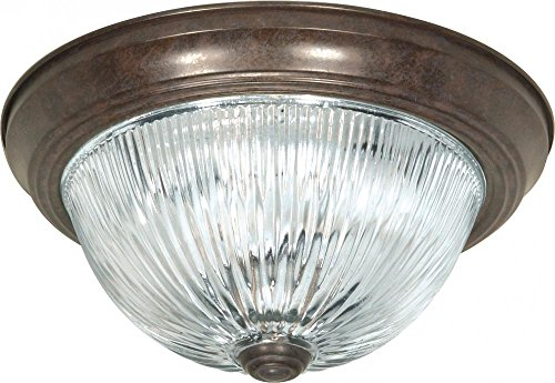 606 Glasses - Nuvo Lighting SF76/606 Two Light Flush Mount Old Bronze/Clear Ribbed Glass