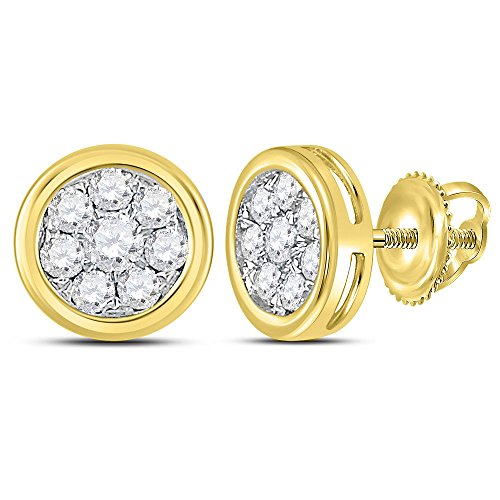 (Roy Rose Jewelry 14K Yellow Gold Womens Round Diamond Circle Cluster Stud Earrings 1/2-Carat tw)