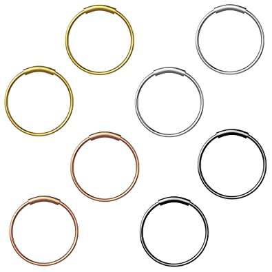 HO2NLE 8Pcs Pendiente Nariz Aro 8mm Oro Plata Negro Aros para Piercing Nariz Anillo Septum de Acero Inoxidable Piercing Titanio aro para Labio Oído ...