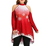 Wugeshangmao Women's Plus Size Christmas Blouses, Ladies Christmas Print Strapless Blouse Pullover Tops