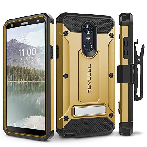 LG Stylo 4 Case, Evocel [Explorer Series Pro] Premium Full Body Case with Glass Screen Protector, Belt Clip Holster, Metal Kickstand for LG G Stylo 4 (2018), Gold (EVO-LGSTYLO4-CC15)