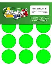 48 puntos adhesivos, 50 mm, puntos de marca, puntos, PVC, vinilo, lámina, neón, verde, luminoso, redondo, autoadhesivo