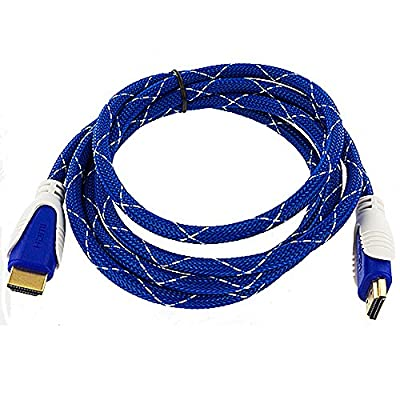 TechSpec(TM) High Speed 1.4 HDMI Cable Cord for PC Xbox One 360 PS4 PS3 HDTV DVD 3D 1080P - Blue Mesh - 3FT Short