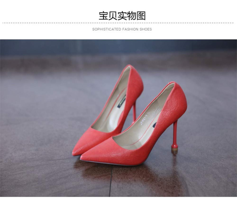 ZZDSH ZZDSH ZZDSH Mode Spitze Flachen Mund High Heels Sexy Stiletto Single Schuhe Wilden Schwarzen Frühling Und Herbst, 39 f89419