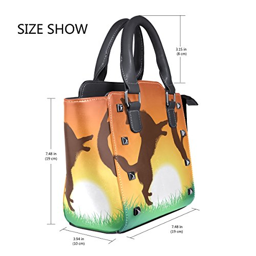 Jumping Handbags TIZORAX PU Shoulder And Sunset Dog Women's Cat Bags Top Leather The Handle BBYwtq6