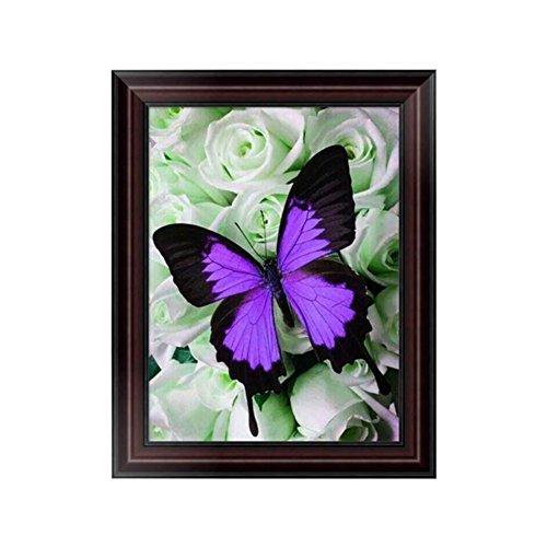 - Smartcoco 5D DIY Diamond Purple Butterfly Wall Sticker 3D Round Diamond Mosaic Cross Stitch Embroidery 30x40CM