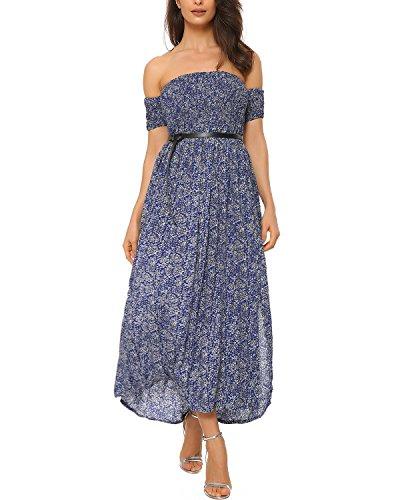 Mixfeer Women's Summer Boho Off Shoulder Long Slit Maxi Casual Dresses Beach Dress