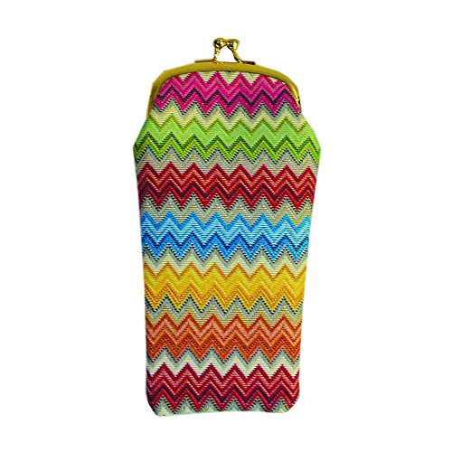 Rainbow Zig-Zag Design Tapestry Eyeglasses Pouch Sunglasses Bag Spectacle Pouch by Signare ()