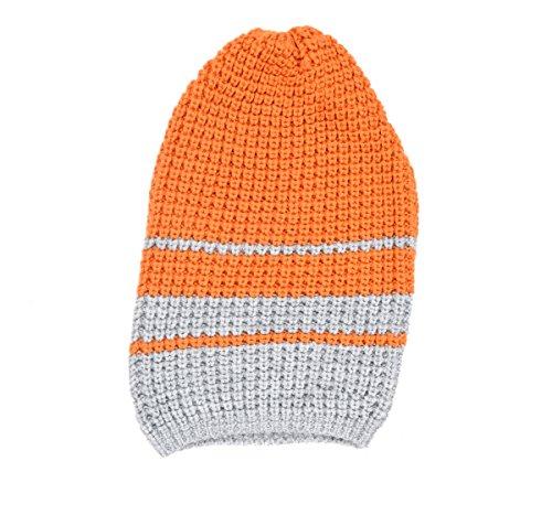 The Gud LookWoolen Grey Orange Beret Cap