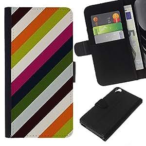 Planetar® Modelo colorido cuero carpeta tirón caso cubierta piel Holster Funda protección Para HTC Desire 820 ( Lines Pastel Colors Clean )