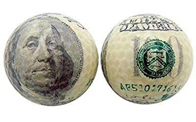 Golf Ball Gift Pack Set of 2 One Hundred Dollar Bills Benjamin Franklin