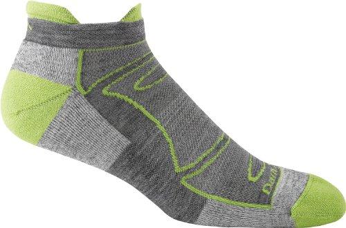 Darn Tough Men's Merino Wool No-Show Ultra-Light Cushion Athletic Socks, Green/Gray, Large