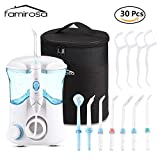 Water Flosser, Famirosa Portable Dental Oral Irrigator Floss Water Jet for Teeth Clean 600ml Capacity with 7 Targeted Tips for Family and Adjustable Water Pressure with Extra Travel Bag and 30 PCS Dental Floss- White