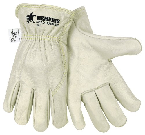 MCR Safety 3224L Road Hustler Premium Grade Unlined Grain Cow Leather Driver Gloves Sewn with Kevlar, Cream, Large, 1-Pair (Hustler Wings)