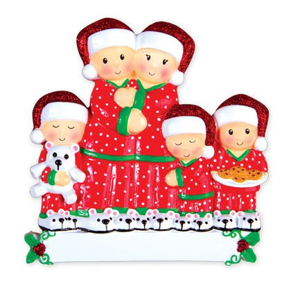 PERSONALIZED CHRISTMAS ORNAMENTS FAMILY SERIES- PAJAMA FAMILY OF 5 /PERSONALIZED BY SANTA/ / 5 FAMILY CHRISTMAS ORNAMENT/ CHRISTMAS ORNAMENT 5 / PERSONALIZED CHRISTMAS ORNAMENT FAMILY OF 5