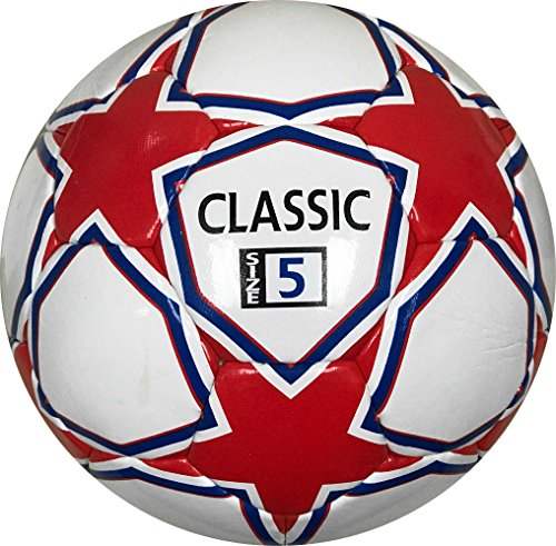Classic Soccer Ball Premium Quality White Red and Blue 32 Panel Size 5