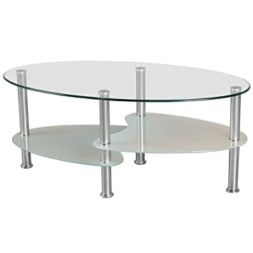 Superbe Cara Oval Clear And Frosted Glass Coffee Table