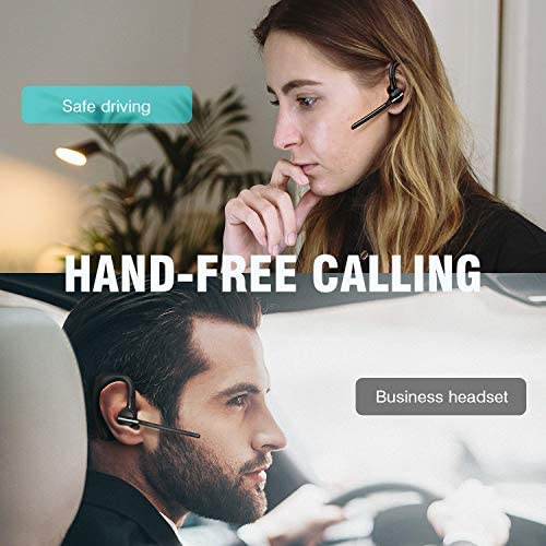 Bluetooth Earpiece, Vogek Bluetooth Headset 16 Hours Talktime with CVC8.0 Noise Cancelling Mic Mute Key Hands-Free Earphones for Cell Phones PC Laptop Business Truck Driver Office Call Center Skype