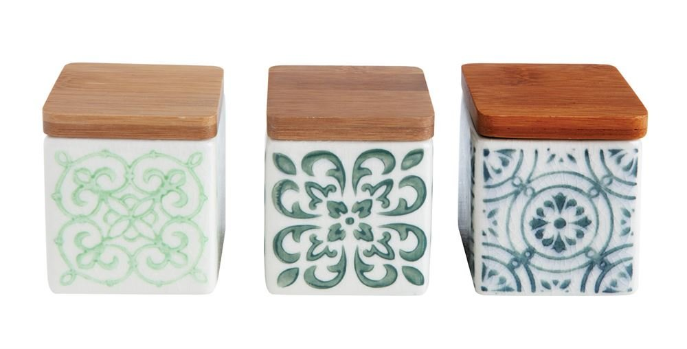 Creative Co-op 2-1/4'' Sq Stoneware Canisters w Bamboo Lid, 3 Styles, Set of 3