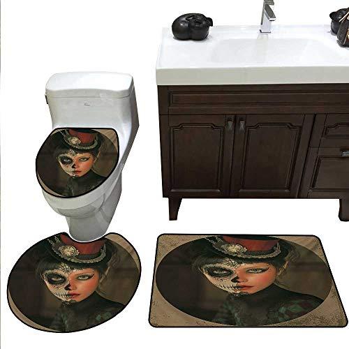 Anshesix Sugar Skull 3 Pc Bath Rug Set Antique Portrait Girl with Calavera Inspired Makeup and Topper Realistic Design Toilet mat Set Multicolor]()