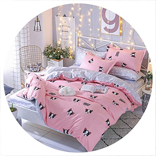 Fashion Printed Dotted Dotted Bedding Quality Family Adult Children's Simple Style Black White Four Bedding Set Plaid Bed 25,style4,Queen 4pcs,Flat Bed Sheet