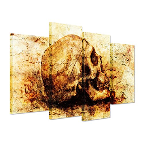 Hello Artwork - Vintage Canvas Wall Art Print Abstract Skull Head On Yellow Background Human