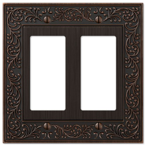 Amerelle English Garden Double Rocker Cast Metal Wallplate in Aged Bronze ()
