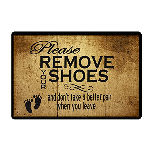 FANNEE Custom Entrance Doormat Please Remove Your Shoes And Don't Take A Better Pair When You Leave Doormat Indoor/Outdoor Door Mat 18x30 Inch Non-woven Fabric Non slip
