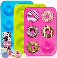 Molde para donut, 3 piezas 100% silicona antiadherente para hornear, sin BPA, fácil de limpiar y apto para lav