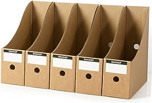 nago0 File Magazine Holder,5Pcs/Pack Cardboard Magazine Rack Files Folder Desktop Stationery Storage Box for School Dormitory,Office,Home Files Storage