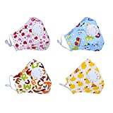 Dodoshop 4Pack Washable Cotton N95 Mouth Mask Breathable Cartoon Allergy Dustproof Mask for Kids Boys Girls (with 20 Filters)