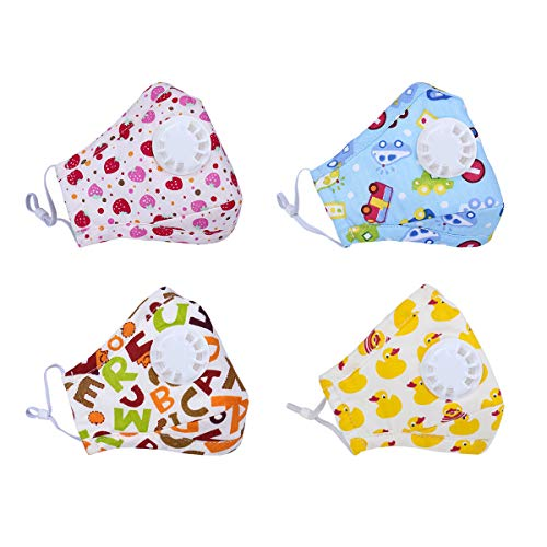 Dodoshop 4Pack Washable Cotton N95 Mouth Mask Breathable Cartoon Allergy Dustproof Mask for Kids Boys Girls (with 20 Filters) ()