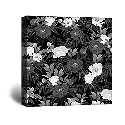 Square Flowers in Black White, Classic Artwork, Pretty Picture