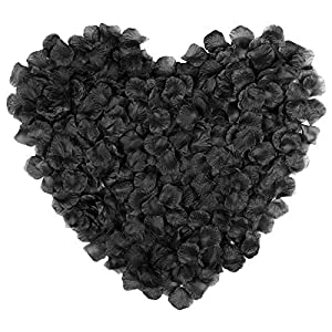 Naler 2000 Pieces Artificial Flowers Silk Rose Petals for Christmas Home Party Wedding Decoration Vase Confetti Table Scatter, Black 117