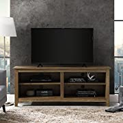 "Walker Edison Furniture Company Minimal Farmhouse Wood Universal Stand for TV's up to 64"" Flat Screen Living Room Storage Shelves Entertainment Center, 58 Inch, Reclaimed Barnwood"