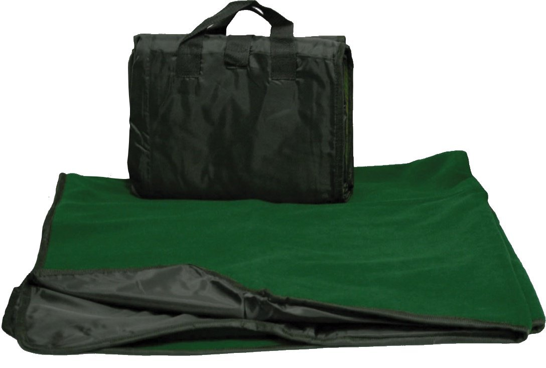CozyCoverz Waterproof Stadium Blanket / Picnic Blanket 50'' x 60'' (Black/Forest Green)