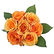 SOLEDI Artificial Flowers 7 Heads Hand Drawn Artistic Roses For Wedding Home Bar Decor (Orange)