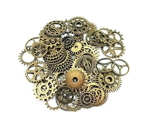 100 g Assorted Retro Style Antique Steampunk Gears Charms Pendant Clock Watch Wheel Gear for Crafting DIY Jewelry Making Accessories
