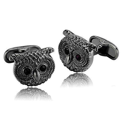 Epinki Men Stainless Steel Cute Nocturnal Owl Bird Face Silver Black Stylish Modern - Bulgari Sydney