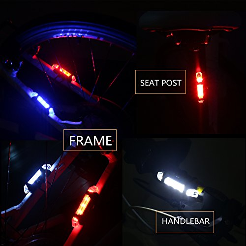 Outair USB Rechargeable Bicycle Light Front And Tail Set 5 LEDs 4 Modes Head Back Bike Flashing Safety Warning Lamp (Red&White) by Outair (Image #6)