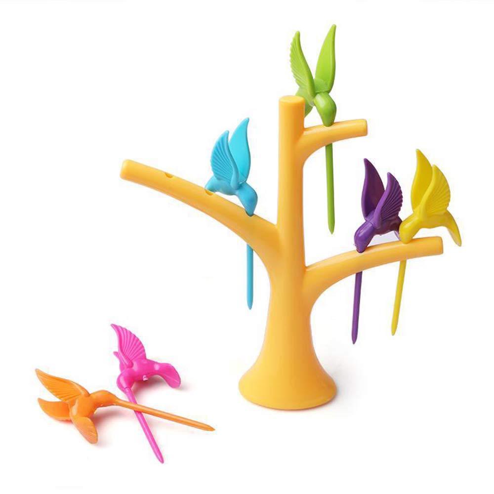snack Icyang mosca e uccellino set di 2 alberi da 12 forchette da frutta con supporto a forma di simpatico animale insalata dessert colore casuale forniture per la casa per pranzo verdure