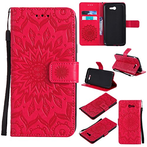 Galaxy J7 V Case / Galaxy J7 Perx Case / Galaxy J7 Sky Pro / J7 Prime / Galaxy Halo / J7 2017 Case,Shock Proof Embossed Purse Case with Magnetic Closure Credit Card Holder-Sunflower Red