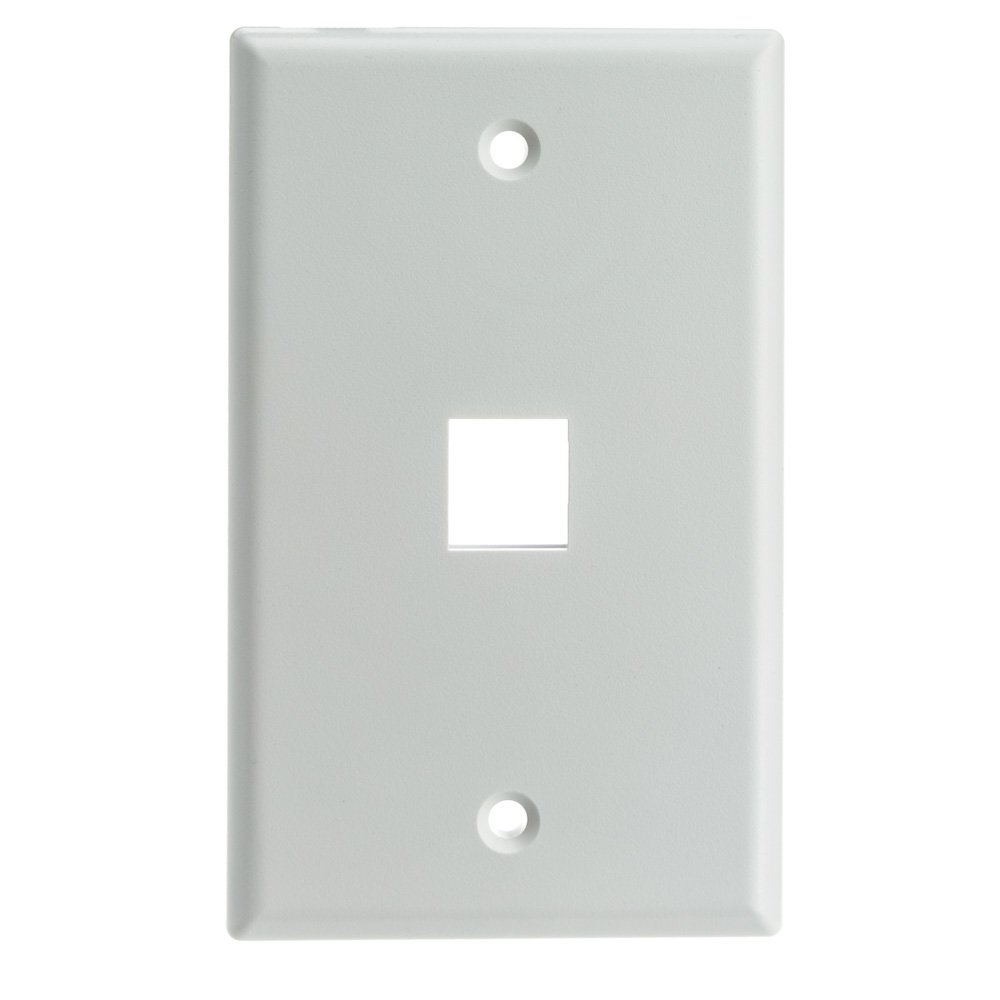 ACL Keystone 1 Port Single Gang Wall Plate, White, 100 Pack by ACL