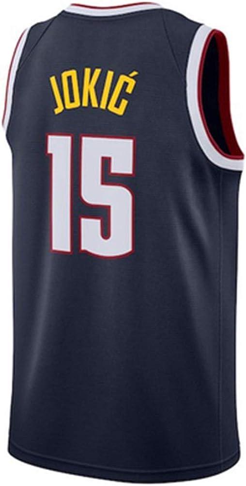 LDFN Basketballtrikot Nikola Jokic # 15 Basketball-Trikot Mesh Atmungsaktiv Und Schnell Trocknend Stoff Bestickt Sport /Ärmellos T-Shirt S-XXL