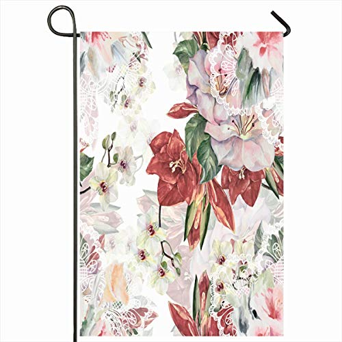 Ahawoso Outdoor Garden Flag 12x18 Inches Herbs Pink Amaryllis Wedding Watercolor Abstract Line Mystic Red Botanic Bouquet Color Different Seasonal Double Sides Home Decorative House Yard Sign