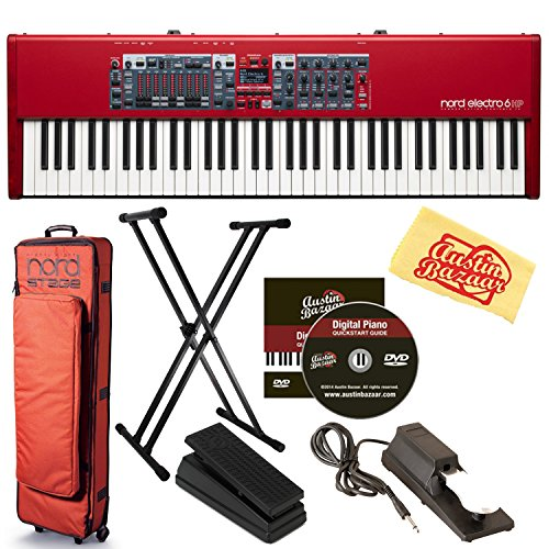 Nord Electro 6 HP 73-Note Hammer Action Stage Piano Bundle with Soft Case, Adjustable Stand, Expression Pedal, Sustain Pedal, Austin Bazaar Instructional DVD, and Polishing Cloth