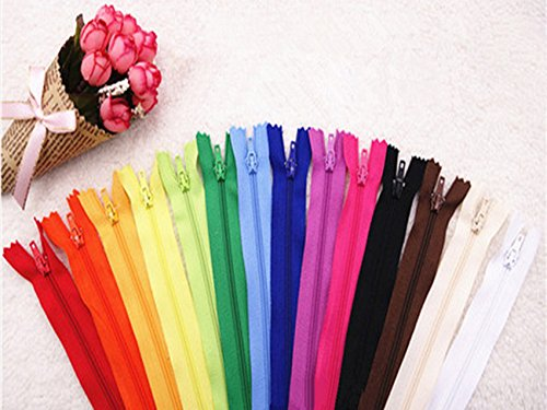 - Famixyal Top Quality Assortment of Colors Skirt & Dress Zippers 3# Nylon Zipper Length 24cm 9'' Nylon Coil Closed End Zippers for Trousers Wallet Bag Tailor Sewing Tools Craft DIY Zipper (50 pcs)